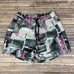 🆕Billabong Beach Shorts Purple & Grey